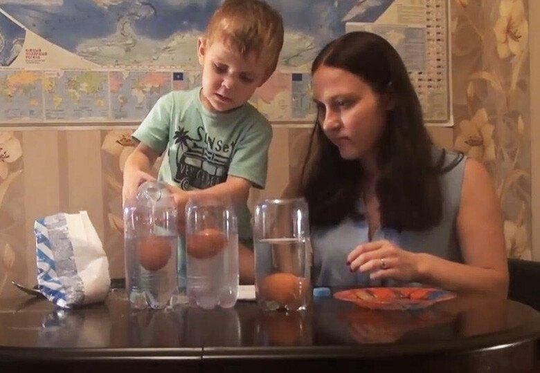 Опыт с яйцом и солёной водой дома